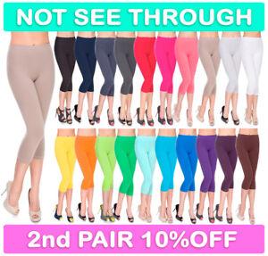 Womens Cropped 3/4 Length Leggings Soft Cotton Active Wear Capri Pants Size 8-30