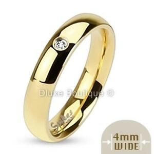 4mm Wide 14k Gold Plated Classic Cubic Zirconia Wedding Ring Band Size 4-8
