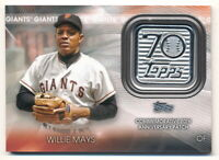 WILLIE MAYS 2021 TOPPS 70TH ANNIVERSARY COMMEMORATIVE PATCH RELIC GIANTS
