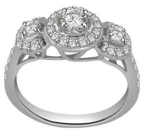 SI1 G 0.91 Ct Natural Diamond 3 Stone Halo Engagement Ring 14K White Gold RS 4-6