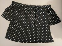 Witchery Women's Top Size XS Off Shoulder Black White Polka Dot NEW RRP $79.95