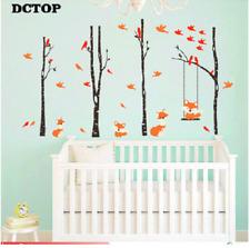 Cute Fox Swinging Trees Wall Stickers Birch Birds Wall Art Decal Kid Room Decor