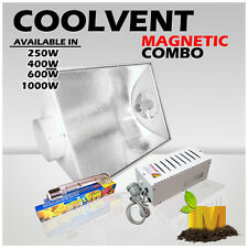 HPS 600W Hydroponics Grow Light Magnetic ballast kit Air Cool Vent shade & lamp