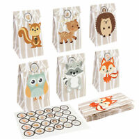 12× Safari Animals Party Candy Bag Paper Gift Bag Woodland Birthday Party Decor