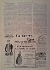 1890 ADVERT NICHOLSON'S-VAN HOUTEN'S COCOA-PETER ROBINSON-S FOX & Co UMBRELLAS