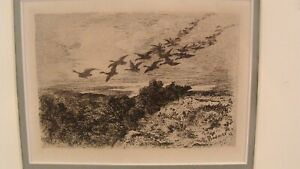 Antique 1873 Karl Bodmer Swiss Flock of Geese Etching