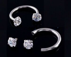 Ring Horseshoe CZ Crystal Gem Ball Barbell Ring Eyebrow Lip Nose Piercing