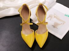 Womens Fashion Ankle Strap Pointed Toe High Heel Pumps Shoes UK Size 1--11 C410
