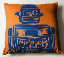 The Land of Nod Orange & Blue Robot Space Throw Pillow Accent Bed