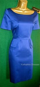 New KAREN MILLEN UK 8 10 Royal Blue Fitted PEPLUM Pencil Bridesmaid Party Dress