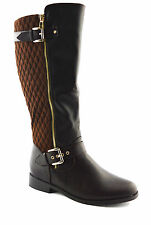 WOMENS BOOTS LADIES KNEE HIGH LOW HEEL FLATS BUCKLE PULL WINTER RIDING