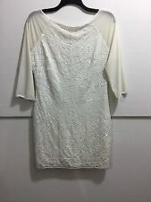 Marciano women's size large cream white 3/4 sleeve mid length sequin dress
