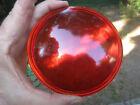 "Vintage 4 3/4"" Convex Dark Red Glass Lens for Railroad Lantern Auto Car Light"