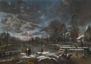 """oil painting """"Skaters and Kolf Players on a Frozen River""""N6084"""