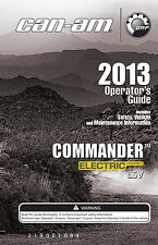 New Can-Am Commander Electric LSV 2013 Owners Operators Manual Paperback