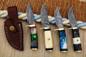 """6"""" MH KNIVES CUSTOM HANDMADE DAMASCUS STEEL LOT OF 4 HUNTING/SKINNER KNIFE LOT4H"""