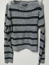 Love By Chesley Black & Gray Striped Long Sleeve Knit Sweater; Many Sizes!!