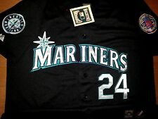 New Seattle Mariners #24 Ken Griffey Jr2Patch Stitched Majestic Jersey BLACK MEN