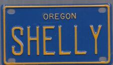 SHELLY Blue Oregon - Mini License Plate - Name Tag - Bicycle Plate!