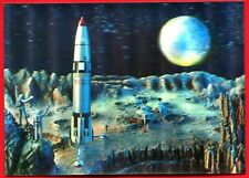3D STEREO Lenticular SPACE AMERICAN ROCKET-STATION-MOON-ASTRONAUT Postcard Old