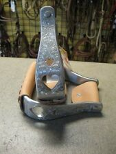 New used horse tack Aluminum heart cut out stirrups barrel trail roper show nice