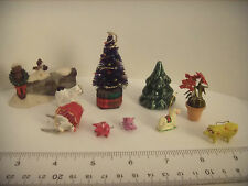 VINTAGE 1960's-70's doll house Xmas tree, additional ornaments, Xmas plant MORE