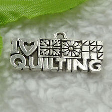 Free Ship 100 pieces tibet silver i love quilting charms 24x12mm #1414