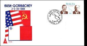 Malta 1989 Bush Gorbachev Summit Valletta CDS FDC First Day Cover