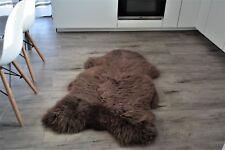 Chocoalate sheepskin rug natural light brown carpet real fluffy wool genuine