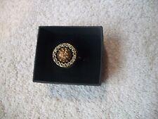 HEIDI DAUS Cute RING Sz 5 Amber & Clear Swarovski Crystals New Great Gift