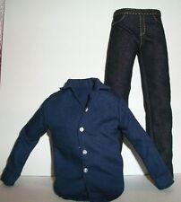 Barbie MATTEL KEN JEANS & DARK BLUE SHIRT FITS VINTAGE KEN & MODELMUSE CLOTHES