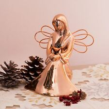 Rose Gold Effect Ceramic Seated Angel With Metal Wings