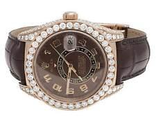 Mens 18K Rose Gold 326135 Rolex Brown Sky Dweller 42mm Diamond Watch 22.5 Ct