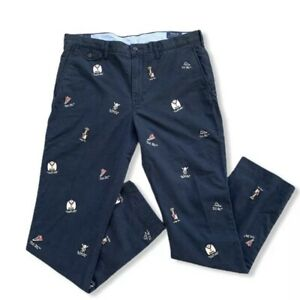 Polo Ralph Lauren Navy College Bear Embroidered Stretch Straight Fit Chino Pants