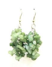 Green Aventurine Natural Stone Drop Earrings Silver Hook Chandelier Druzy 1098