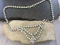 Vintage Art Deco Sparkling Crystal Rhinestone Statement Necklace V Bib Front