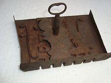 VINTAGE ORIGINAL ROUGH IRON COMPLETE LOCK KEY 18TH CENTURY COLONIAL RARE
