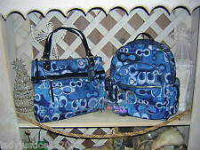 AUTHENTIC COACH Poppy Denim Blue Signature GLAM TOTE  ONLY **LOOK!!!