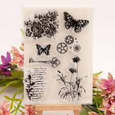 Butterfly gear key Silicone Clear Cling Stamp Seal Scrapbook Embossing Album TW