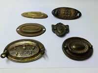 Hepplewhite 6 oval bail pull handles vintage brass salvage Back plates Mixed Loy