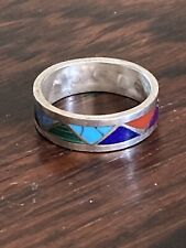 Zig Zag Band Ring Size 7, 3g Vintage Zuni Sterling Silver Turquoise Multi Stone