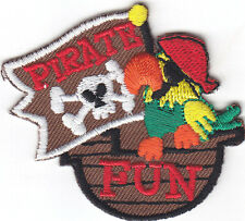 """PIRATE FUN"" PATCH/Iron On Embroidered Applique/Children, Games, Fun, Pirates"