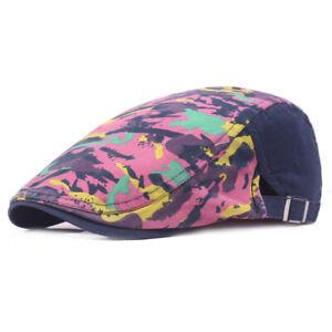 Men Women Stylish Camouflage Cap Outdoor Adjustable Beret Hat Visor Newsboy Hats