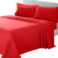 1800 Soft Brushed Microfiber 4-Piece Bed Sheet Set Fitted Bedding Deep Pocket