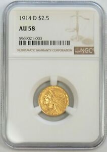 1914 D GOLD US $2.5 INDIAN HEAD QUARTER EAGLE COIN NGC ABOUT UNCIRCULATED 58
