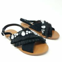 Vince Camuto Ampella Womens Sandals 7M Black Jewels Embellished Fringe Slingback
