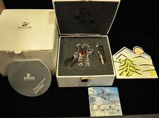 """Swarovski Crystal """"Kris Bear W/Skis"""" #7637 000 004 Nib W Coa & Background"""