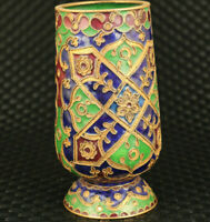 Antiques chinese old cloisonne Hand carving vase /brush pot noble decoration