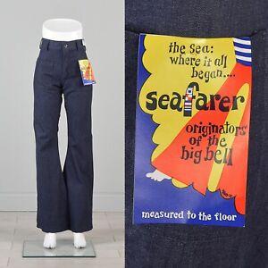 1970s Embroidered Hippie Bell Bottoms mediumlarge 3334 waist midrise