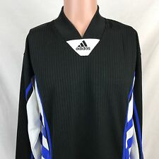 Vintage 90s Adidas Soccer Long Sleeve Jersey Shirt M Black Blue White 3 Stripes